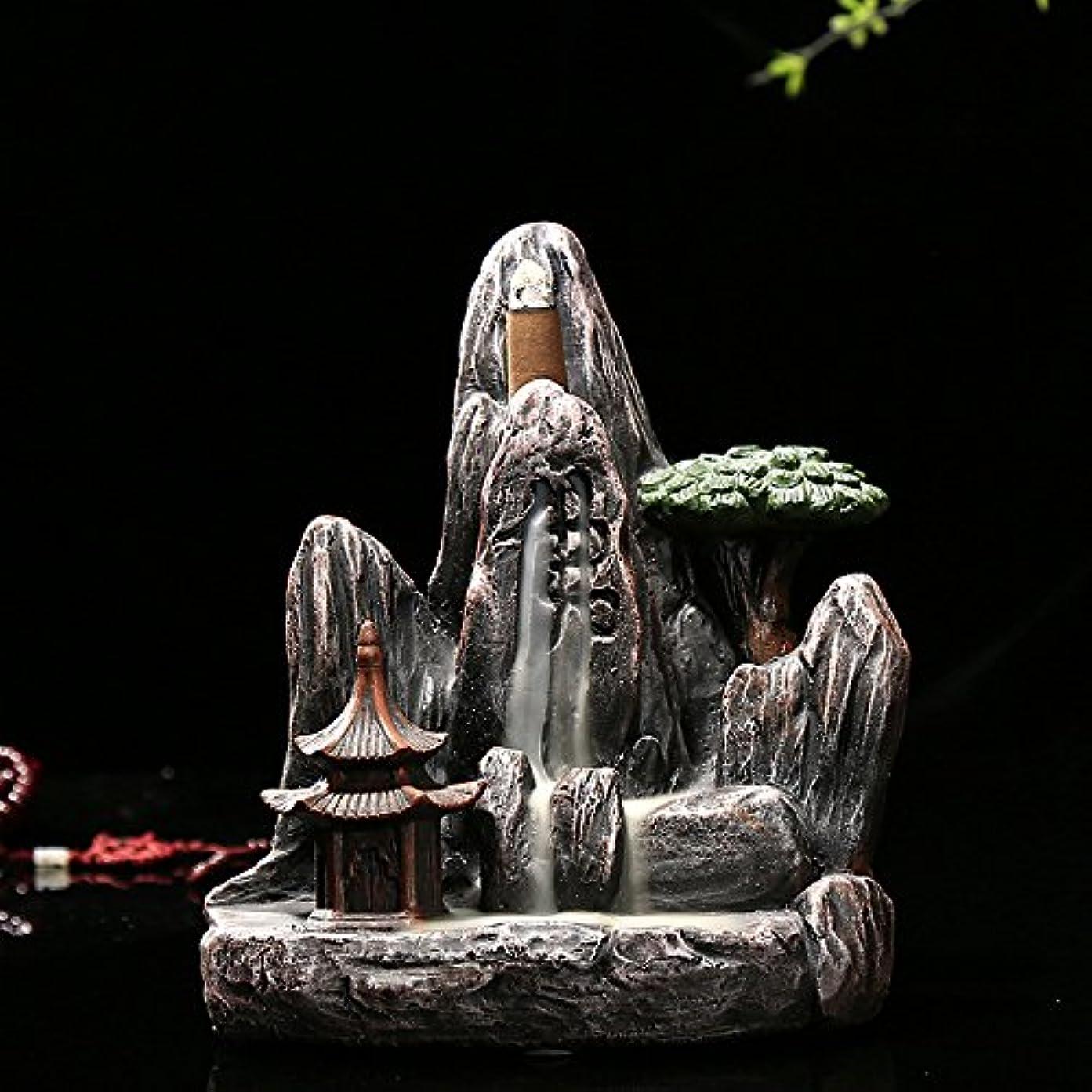 降臨病個人omonic Zen Garden Mountain Stream Backflow手作り樹脂Incense Holder Burner、アロマセラピー炉Diffuser forホームインテリア