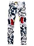 (スプリングスワロー) SpSw メンズ オリジナル プリント ストレッチ デニム ジーンズ 白ズボン ベース ストリート タウン ゴルフ アウトドア 目立つ パンツ (33)