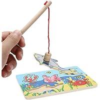 Greensun TM 1set木製磁気釣りのおもちゃ海洋動物かわいい魚パターン釣りゲーム玩具教育3dジグソーパズル