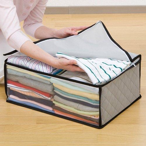 ストレージスタイル 衣類 整理袋 3枚組 グレー 活性炭 上部ファスナー式で大きく開き出し入れもカンタン