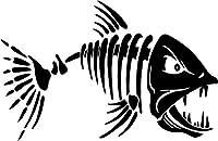 Fish Bonesスケルトンビニールデカールステッカーバンパー車トラックウィンドウ 10 inch Wide NSDECPTTHREEII1032-10WHT