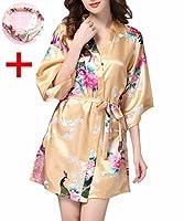 女性用バスローブ 浴衣式 サテン生地 シルクのような孔雀柄着物風ガウン全12色