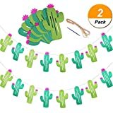 Maxdot 2 Sets Cactus Banners Garland Cactus Party Supplies Decorations for Pennant Tropical Birthday Festival Luau Hawaii Children's Party [並行輸入品]