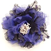 ドット 柄 オーガンジー フラワー コサージュ 大 (紫)