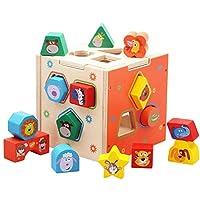 HBDeskToys 木製カラフルシェイプソートキューブ 教育玩具 子供用 幾何学形状ブロック15個 クラシック早期発達形状認識おもちゃ オープンエンドトイ