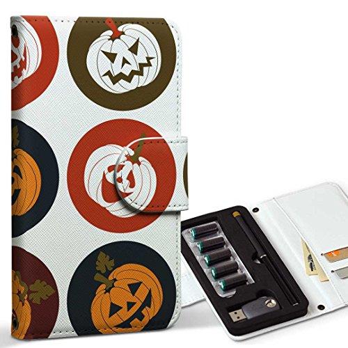 スマコレ ploom TECH プルームテック 専用 レザーケース 手帳型 タバコ ケース カバー 合皮 ケース カバー 収納 プルームケース デザイン 革 ユニーク かぼちゃ アイコン 赤 レッド 模様 008538