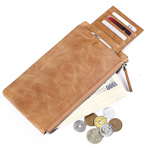 [パボジョエ]Pabojoe長財布 財布 カードホルダー じゃばら 本革 小銭 カード 入れ (カーキ)