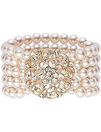 BABEYOND 1920s Flapper Imitation Pearl Bracelet Great Gatsby Elastic Pearl Bracelet Roaring 20s Accessories Jewelry 4 Rows