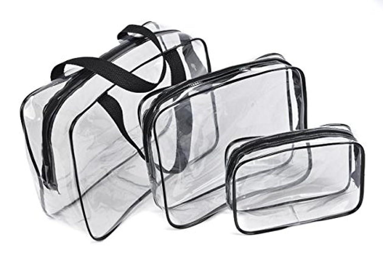デッキ多分乳白Fortan化粧ポーチ 防水 透明 旅行 化粧品 収納バッグ プラスチック メイクボックス コスメポーチ メイクアップポーチ 小物入れ 大容量 携帯し易い 3pcs/セット (黒色)