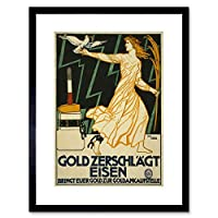 Vintage Ad War WWI Germany Sell Gold Iron Peace Dove Anvil Framed Wall Art Print ビンテージ戦争ドイツゴールド平和壁