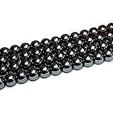 【hinryo】 5A ヘマタイト 磁石 磁気入り 4mm~14mm 1連39cm 天然石 パワーストーン (12mm g3-824C)