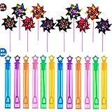 Migavan 20個DIY風車 カラフルな風車+40個バブルワンド子供おもちゃ バブルチューブ 気泡管 シャボン玉ボトル