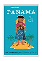 パナマを発見する - サンブラスインディアン.プリコロンビア文明 - ビンテージな世界旅行のポスター c.1960 - アートポスター - 33cm x 48cm