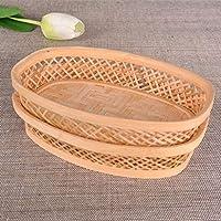 P Prettyia 食べ物 バスケット レストラン 楕円形 パン 食べ物 バスケット
