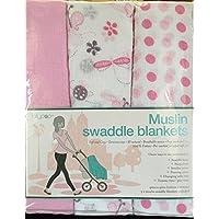 Butterflies & Ladybugs, Polkadots & Pink Muslin Swaddle Blankets from Lollypop by Manhattah Kids