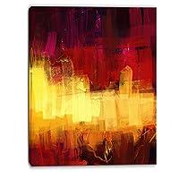 """DesignArt """" Textured「デジタルアート抽象キャンバスプリント 30x40"""" レッド PT6185-30-40"""