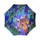 Autism Awareness Puzzle Jigsaw折りたたみ雨傘パラソル太陽傘防風旅行コンパクト