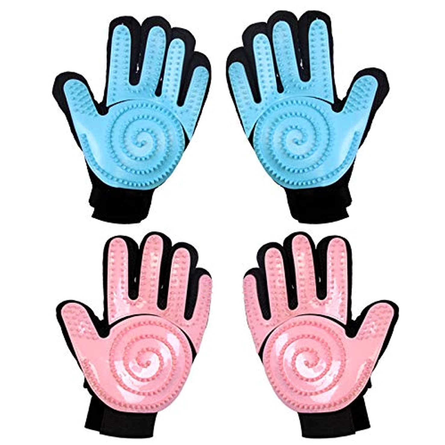 ミンチ参加する小人BTXXYJP 手袋 ペット ブラシ グローブ 猫 ブラシ クリーナー 抜け毛取り マッサージブラシ 犬 グローブ ペット毛取りブラシ お手入れ (Color : Pink, Style : Right hand)