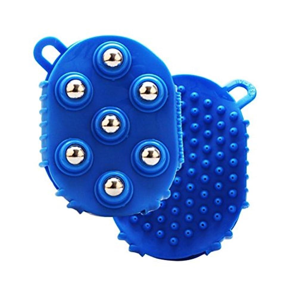 強制作曲する失礼ROSENICE マッサージブラシ7痛みの筋肉の痛みを軽減するための金属ローラーボールボディマッサージャー(ブルー)