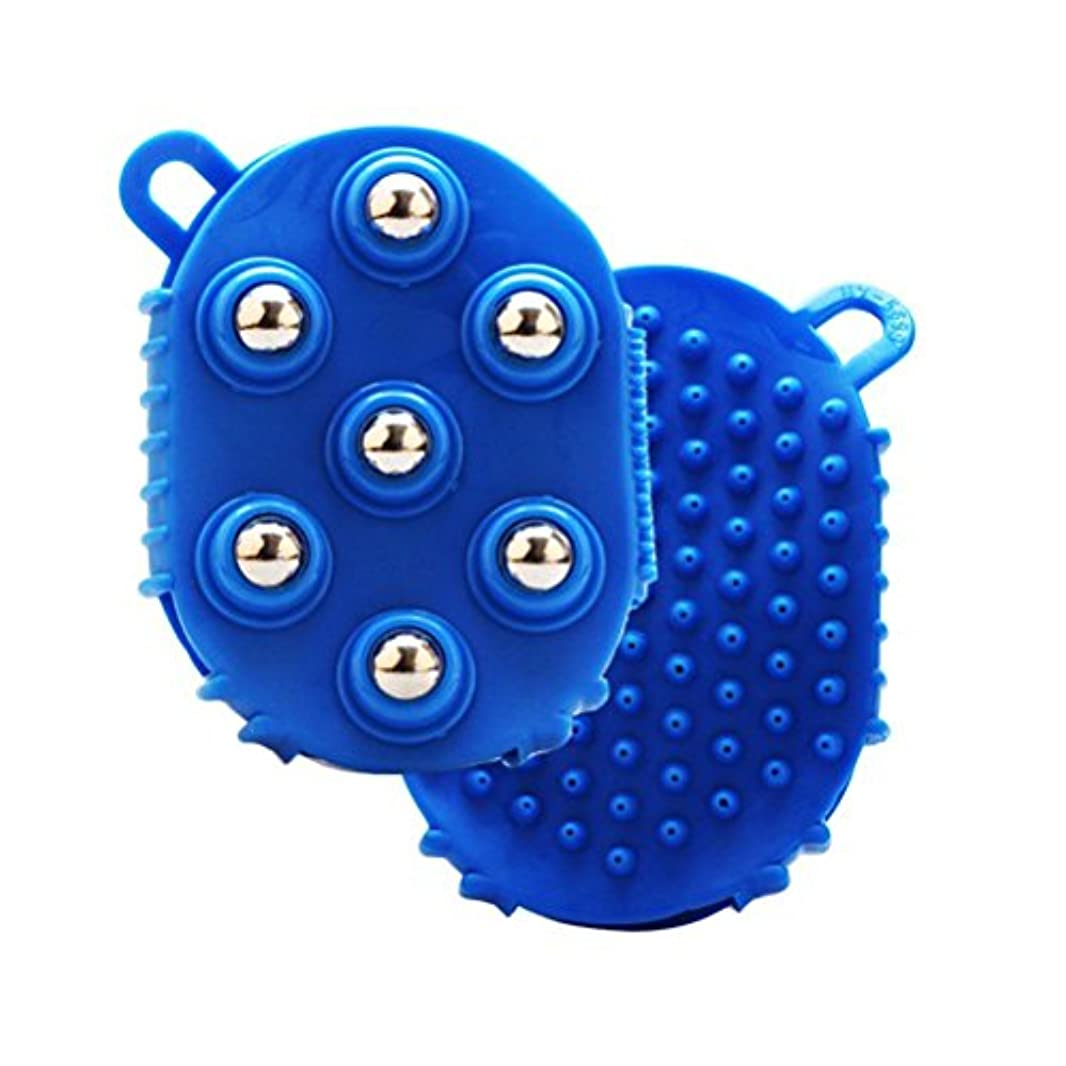 すなわち農業海峡HEALLILY 手のひら型マッサージグローブマッサージバスブラシ7本付きメタルローラーボールハンドヘルドボディマッサージ用痛み筋肉筋肉痛セルライト(青)