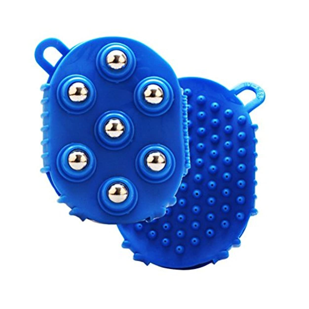 小切手掃除ファブリックHEALLILY 手のひら型マッサージグローブマッサージバスブラシ7本付きメタルローラーボールハンドヘルドボディマッサージ用痛み筋肉筋肉痛セルライト(青)