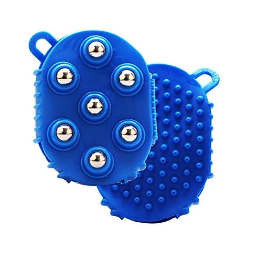 廃棄毎週鉛筆HEALLILY 手のひら型マッサージグローブマッサージバスブラシ7本付きメタルローラーボールハンドヘルドボディマッサージ用痛み筋肉筋肉痛セルライト(青)