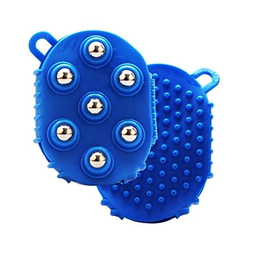 テスピアンマルコポーロ無限大HEALLILY 手のひら型マッサージグローブマッサージバスブラシ7本付きメタルローラーボールハンドヘルドボディマッサージ用痛み筋肉筋肉痛セルライト(青)