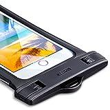 防水ケースESR [IPX8認定 指紋認証] 完全密封 スマホ用 防水携帯ケース タッチ操作可能 対応機種: iPhone X/8/8 plus 7/7plus/6s/6/6plus, Samsung, Huawei, Sony その他6インチ以下全機種対応 水中撮影 お風呂 海水浴 潜水 水泳 砂浜 水遊びなどに最適 (ブラック)