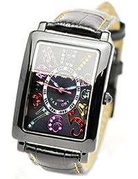 [ピエールタラモン]pierretalamon 腕時計 メンズウォッチ レクタンギュラー カラフルインデックス ジルコニアウォッチ セイコームーブ ブラック PT-9000H-2 メンズ