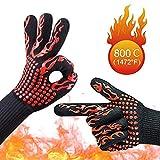 耐熱グローブ バーベキューグローブ クッキンググローブ 耐熱 手袋 最高耐熱温度800℃ 滑り止め 左右兼用 着脱簡単 洗濯可能 5本指グローブ 調理道具 bbq 電子レンジ オーブン に最適 2枚セット (赤)