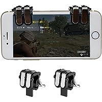 PUBG Mobile荒野行動コントローラー最新 金属 射撃用押しボタン気楽にゲーム体験、六本の指が同時に操作可能、ホルダー機能付き ゲームコントローラー 荒野行動 コントローラー 2個セットIPhone Android対応