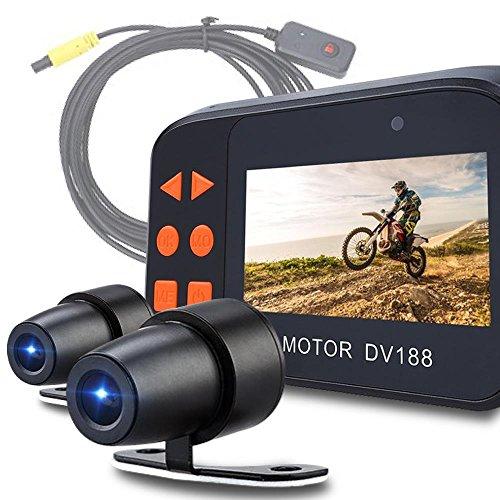 【2018最新6月版は当社だけ(新たにUSB電源付属)】 バイク用 ドライブレコーダー 前後カメラ 同時録画 防...