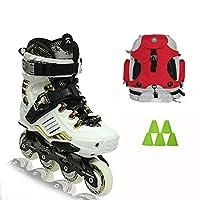 プロフェッショナル1列スケート靴、サイレントベアリングファッションスケート靴、初心者プロフェッショナルスピードスケート靴ローラースケート靴、2色 (Color : White, Size : EU 41/US 8/UK 7/JP 25.5cm)