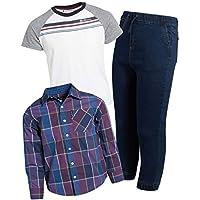Ben Sherman Boy's Long Sleeve Button Down Shirt, Twill Jogger and Henley T-Shirt (3-Piece Set), Khaki-Plaid-White, Size 2T'