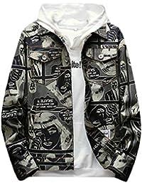 maweisong メンズ迷彩印刷ファッションボタンダウンデニムジャケットアウトウェアコート