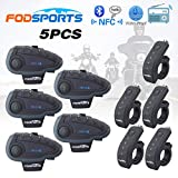 FODSPORTS インカム バイク Bluetooth インターコム ワイヤレス バイク通信機 1200m 5人同時通話 防水 ワイヤレスインカム ツーリング 技適マーク認証済み 5台セット