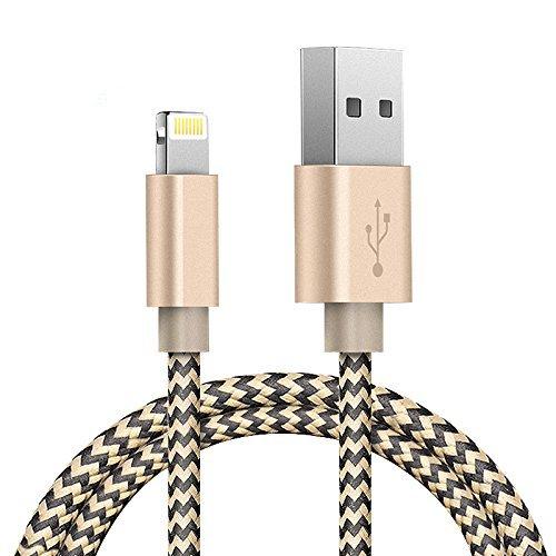 ライトニングケーブル(Zeuste® 0.9M)高耐久ナイロンiphone6/iphone6 plus/iphone5/iphone5s/iphone5c/ipad/ipod対応のlightning usbケーブル(2色編み ブラック&ゴルード)