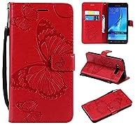 Samsung Galaxy J7 (2016) J710 ケース、Moonmini 衝撃吸収 表面 カバー 汚れ防止 軽量 薄型 全面保護フォンケース 表面 Samsung Galaxy J7 (2016) J710 フォンケース-Red