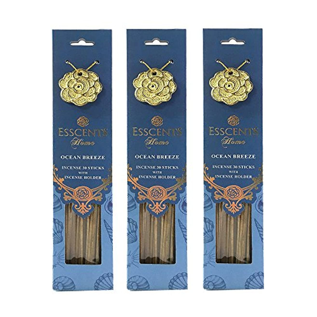 実行ロッジ田舎Esscentsホーム90 SticksプレミアムIncense with 3メタルIncense Holders – Ocean Breeze