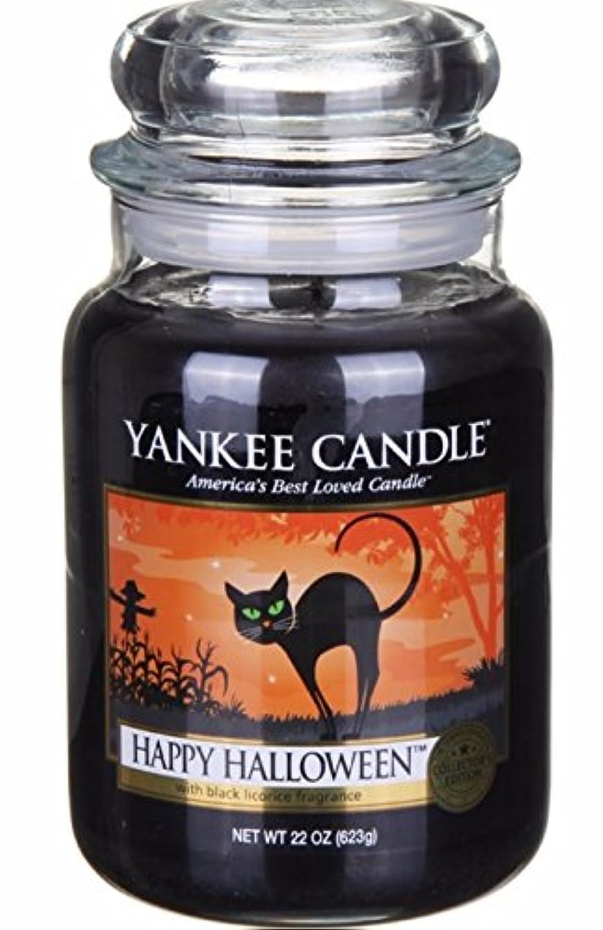 広く住居縮れたYankee Candle 大きなポット ハッピーハロウィーン リコリスフレーバーのキャンドル 22オンス