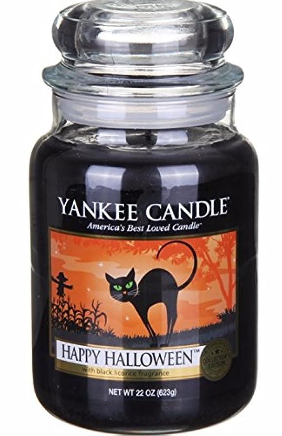 ピック動機付ける事Yankee Candle 大きなポット ハッピーハロウィーン リコリスフレーバーのキャンドル 22オンス