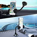 Cell Phone Holder for Car, LotFancy Windshield Car Phone Mount Long Arm 360 Degree Rotation Universal Adjustable Dashboard Mount - Cell Phone Holder Cradle for iPhone 6S/6/8/8Plus/7/7S/7plus/5/5S Samsung Galaxy S7/S7 edge/S8/8 Plus/a5/S5/S4/Note 2/Note 8Plus/LG g6/G5/G4/Google pixel/Nexus 6p,GPS and Other Smartphones—Black