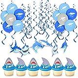 誕生日 装飾 サメ 動物 風船 誕生日 一歳会 100日お祝い 子供 男の子 装飾 可愛い 青い 渦巻き ケーキトッパー 渦巻き 69個セット