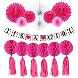 Homyl 「Its A Girl」 バナー ガーランド 紙製 ファン ハニカムボール ポンポン 女の子 誕生日 ベビーシャワー 飾り付け 写真小物