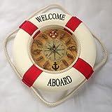 マリン系 地中海 浮輪 かわいい インテリア  壁掛け 時計 全2色 35cm (赤)