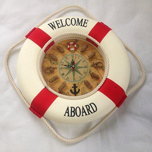 マリン系 地中海 浮輪 かわいい インテリア 壁掛け 時計 ...
