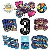 Mayflower Products アラジンとプリンセス ジャスミン 3歳の誕生日パーティー用品 8人のゲスト用デコレーションキットとバルーンブーケ ブラックナンバー3