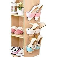 ホーム靴棚プラスチック壁マウントされた靴ラックfor玄関ドアハンギング靴オーガナイザー One Size ピンク