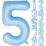 Angel&tribe 数字型風船 101.6cm/40インチ ナンバー 0~9 ティファニーブルー 誕生日パーティー飾り付け ヘリウムガス対応 ホイル マイラーバルーン 数字5 ティファニーブルー
