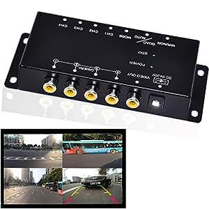 Auto Wayfeng WF® マルチカメラスプリッタ 赤外線コントロール4カメラビデオコントロール車のカメラ画像スイッチコンバイナボックス左の表示のために右の表示フロントリアの駐車のカメラボックス